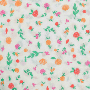 White Floral Pattern Screen Printed Cotton Fabric