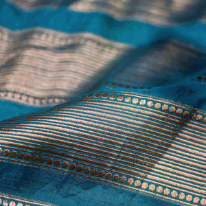 Blue Circular with Striped Pattern Woven Zari Banarasi Fabric