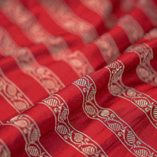 Load image into Gallery viewer, Red Leaf Pattern Woven Zari Banarasi Fabric