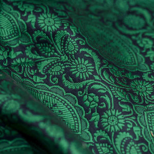 Green Traditional Design Woven Banarasi Fabric