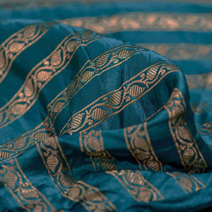 Blue Leaf Pattern Woven Zari Banarasi Fabric