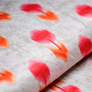 Red Leaf Pattern Cotton Satin Fabric