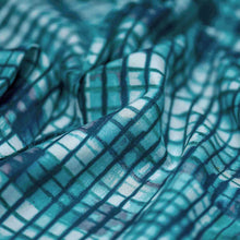 Load image into Gallery viewer, Blue Checks Pattern Rayon Fabric