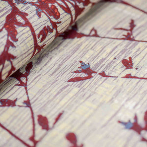 Red Leaf Pattern Rayon Fabric