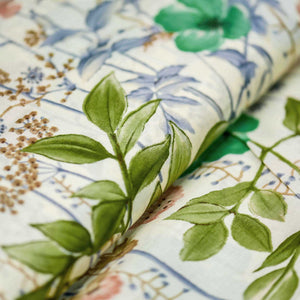 Green Floral Pattern Cotton Fabric