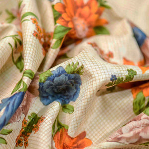 Orange Floral Pattern Cotton Fabric