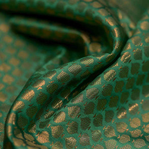 Green Leaf Pattern Woven Zari Banarasi Fabric