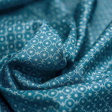 Load image into Gallery viewer, Green Geometrical Pattern Screen Printed Cotton Satin Fabric