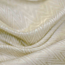 Off White Chevron Pattern Woven Banarasi Fabric
