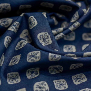 Blue Bandhani Pattern Screen Printed Cotton Fabric