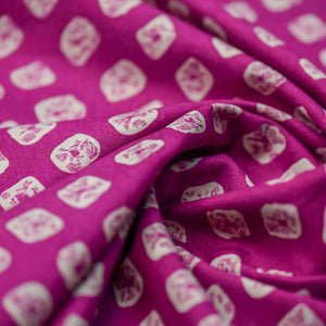 Pink Bandhani Pattern Screen Printed Cotton Fabric