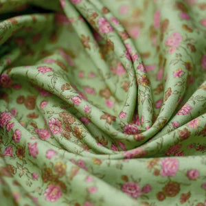 Green Floral Pattern Screen Printed Cotton Fabric