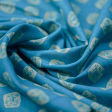Load image into Gallery viewer, Teal Blue Bandhani Pattern Screen Printed Cotton Fabric