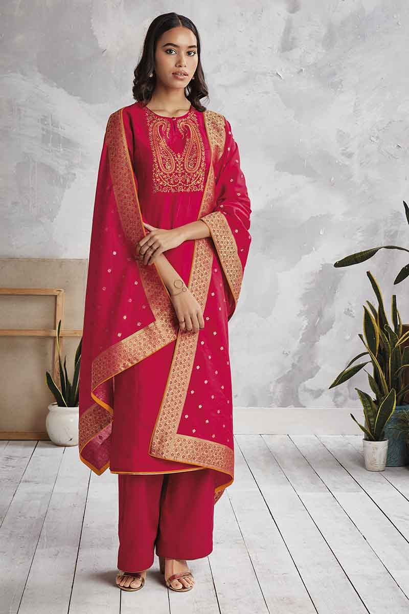 RED Cotton Satin Kurta with Silk Jacquard Dupatta