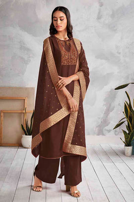 BROWN Cotton Satin Kurta with Silk Jacquard Dupatta