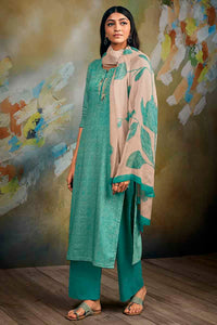 Green Cotton Linen Kurta with Chiffon Dupatta