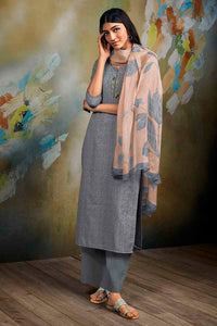 Grey Cotton Linen Kurta with Chiffon Dupatta