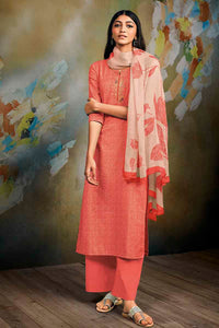 Orange Cotton Linen Kurta with Chiffon Dupatta