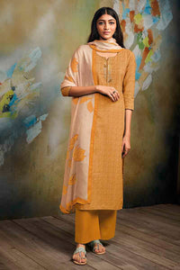 Yellow Cotton Linen Kurta with Chiffon Dupatta