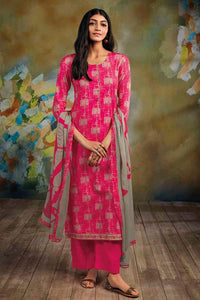 PINK Cotton Satin Kurta with Chiffon Dupatta