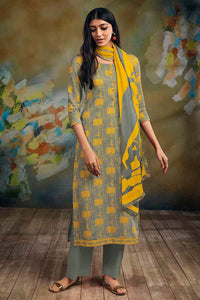 GREY Cotton Satin Kurta with Chiffon Dupatta