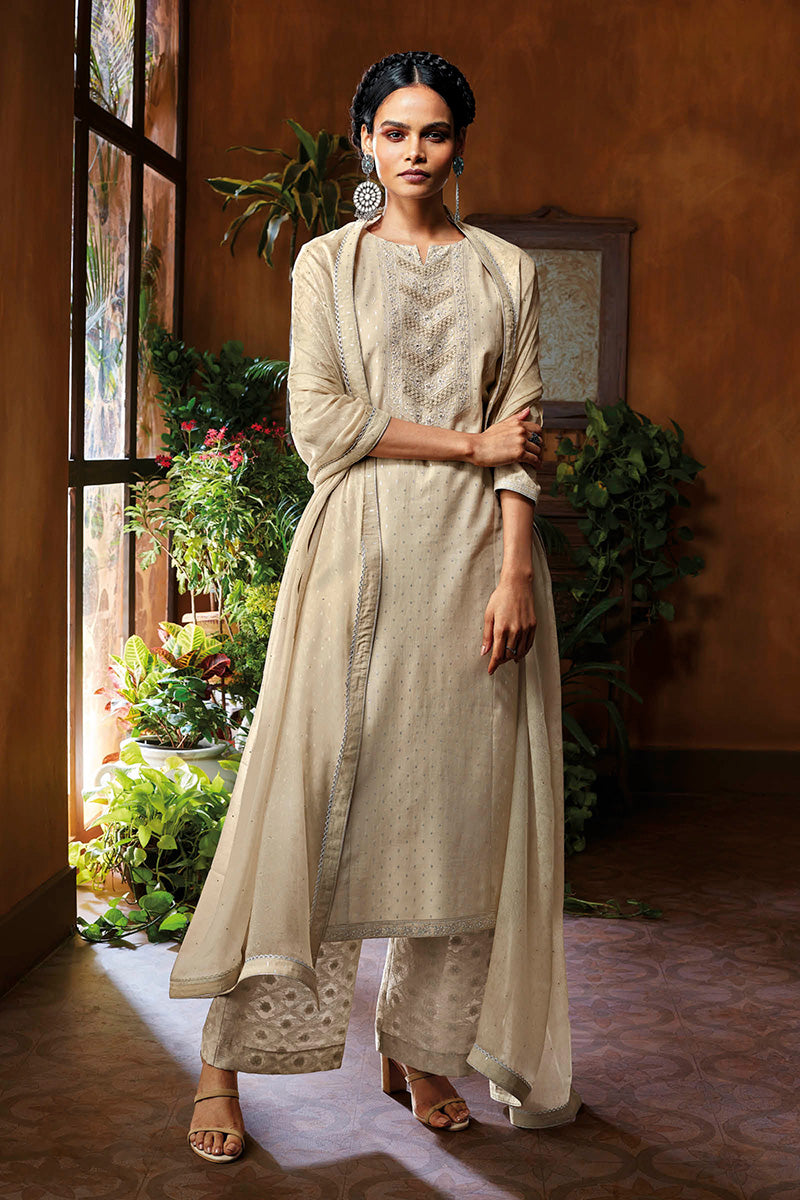 Cotton Jacquard Kurta with Bemberg Chiffon Dupatta
