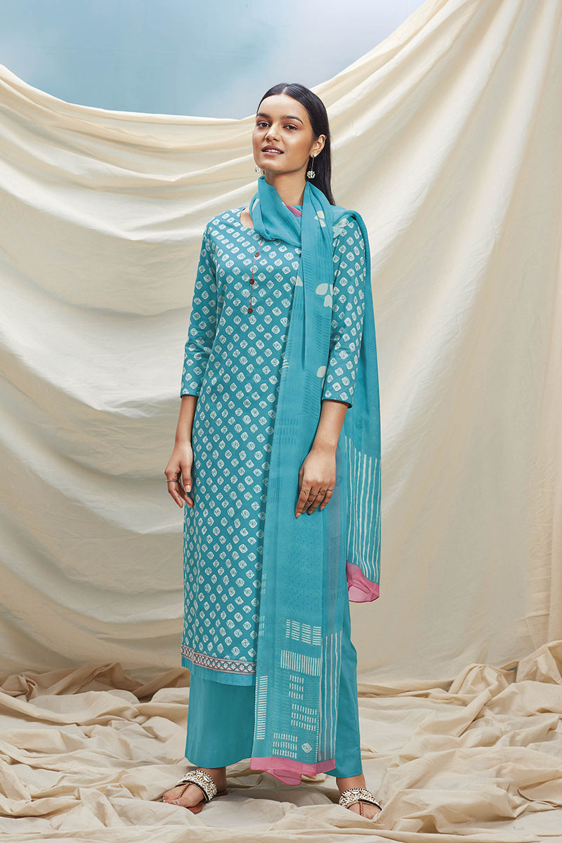 Blue Cotton Kurta with Chiffon Dupatta