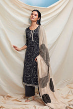 Load image into Gallery viewer, Black Cotton Kurta with Chiffon Dupatta