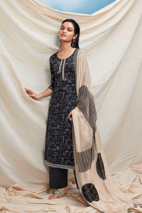 Black Cotton Kurta with Chiffon Dupatta
