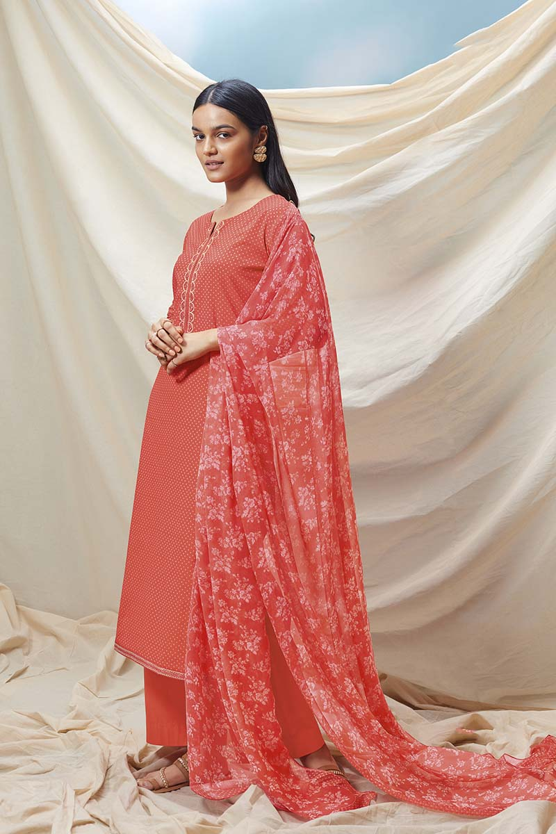 Orange Cotton Kurta with Chiffon Dupatta