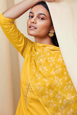 Yellow Cotton Kurta with Chiffon Dupatta