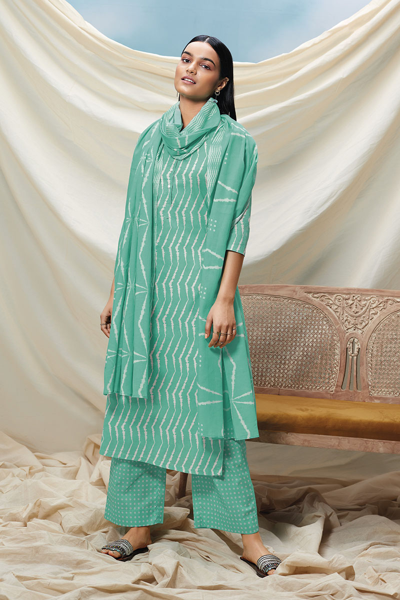 Teal Green Cotton Kurta with Cotton Dupatta