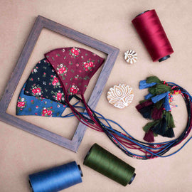 Set of 3 - Premium Floral Cotton Satin  Masks with tassels