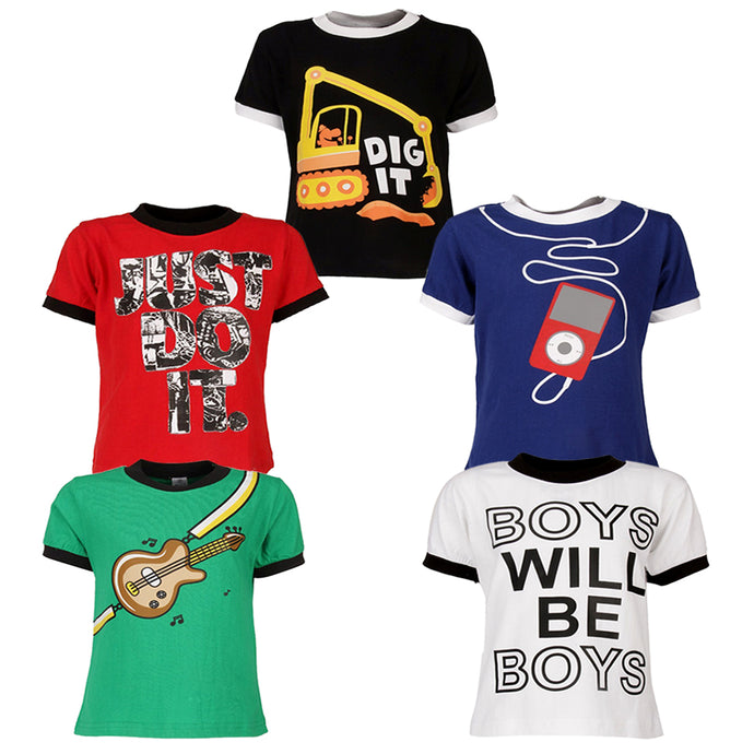 Goodway Pack of 5 Boys Short sleeve T-shirt