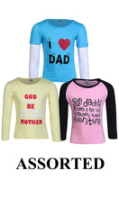 Load image into Gallery viewer, Goodway pack of 3 Assorted Full sleeve Girls T-shirt(3 colour & 3 Print)
