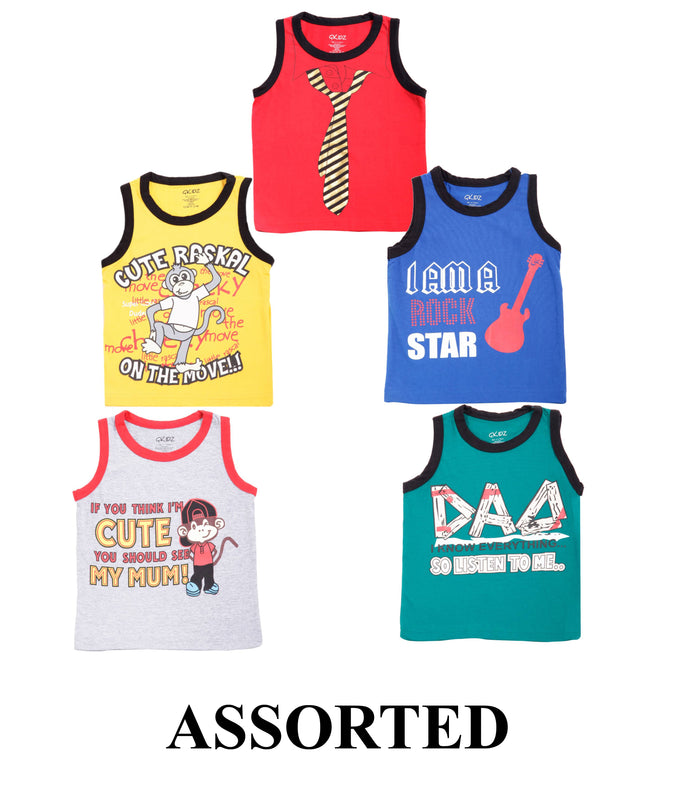 Goodway pack of 5 Assorted Vest(5 colour & 5 Print)
