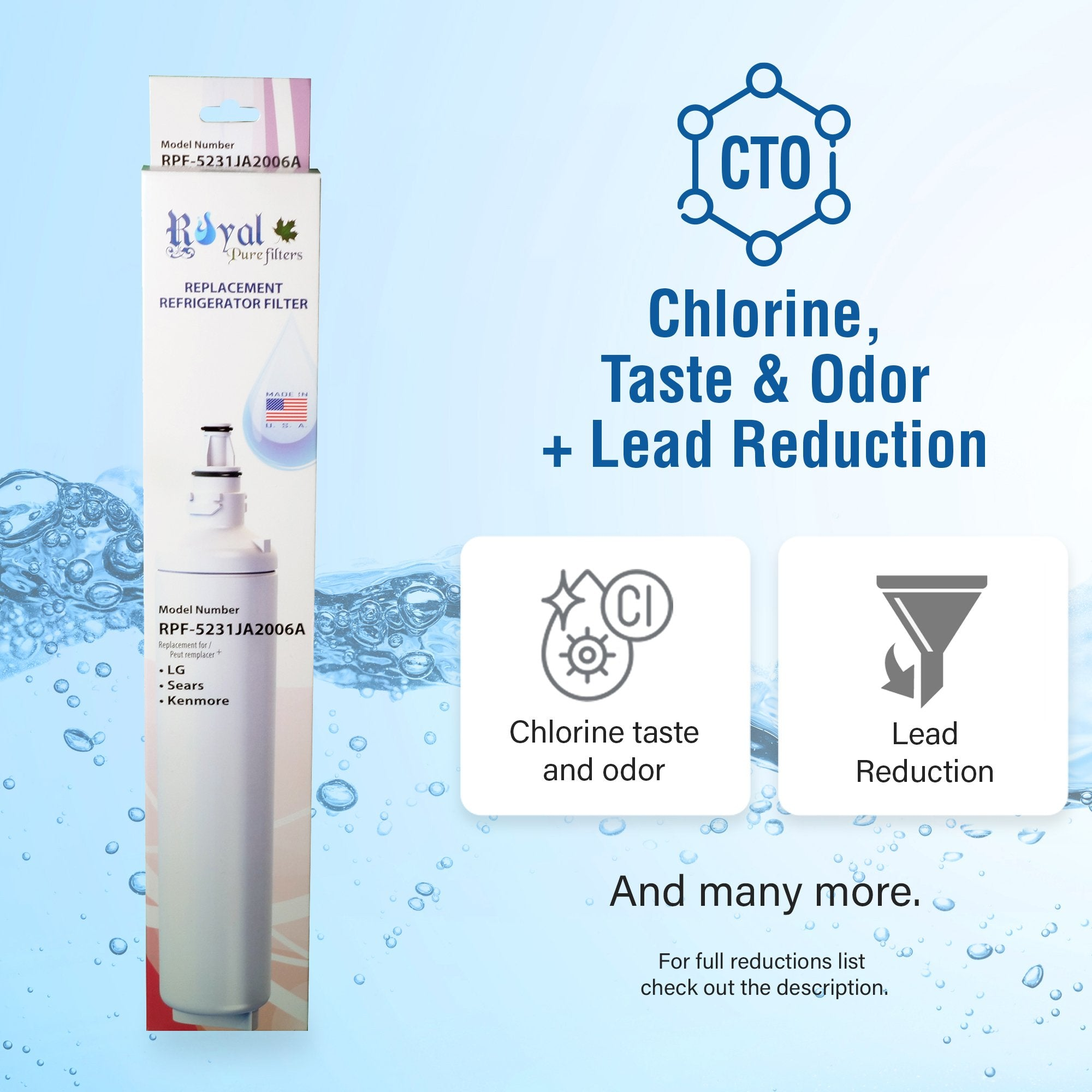 LG LT 600P, 5231JA2006 & Kenmore 46-9990 Compatible CTO Refrigerator Water Filter