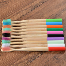 Load image into Gallery viewer, Eco-friendly 10-Pack Soft Bristle Cylindrical Handle Bamboo Toothbrushes