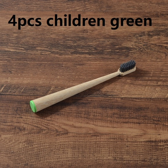 Eco-friendly 4-Pack Easy-hold Cone Shape Children's Bamboo Toothbrushes
