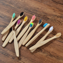 Load image into Gallery viewer, Eco-friendly 10-Pack Soft Bristle Classic Handle Adult & Child Bamboo Toothbrushes