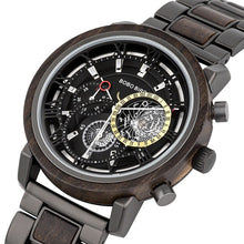 Load image into Gallery viewer, BOBO BIRD Wood & Stainless Steel Waterproof W-T044 Men's Chronograph Watch