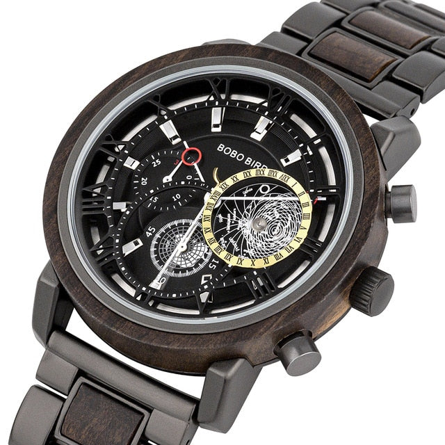 BOBO BIRD Wood & Stainless Steel Waterproof W-T044 Men's Chronograph Watch