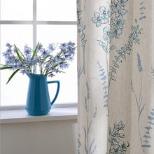 Load image into Gallery viewer, Blue Jasmine Flower - Printed Pastoral Style Linen Curtain