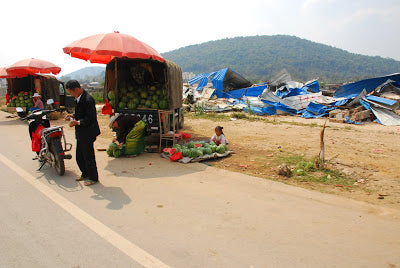 Watermelon vendor in Menghai