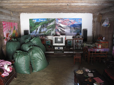 Bags of maocha stacked in a farmers living room. Luo Shui Dong, Yiwu.