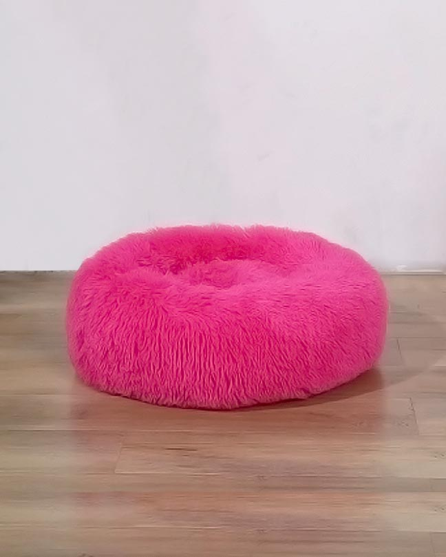 Leather Pink Plush Round Pet Cushion