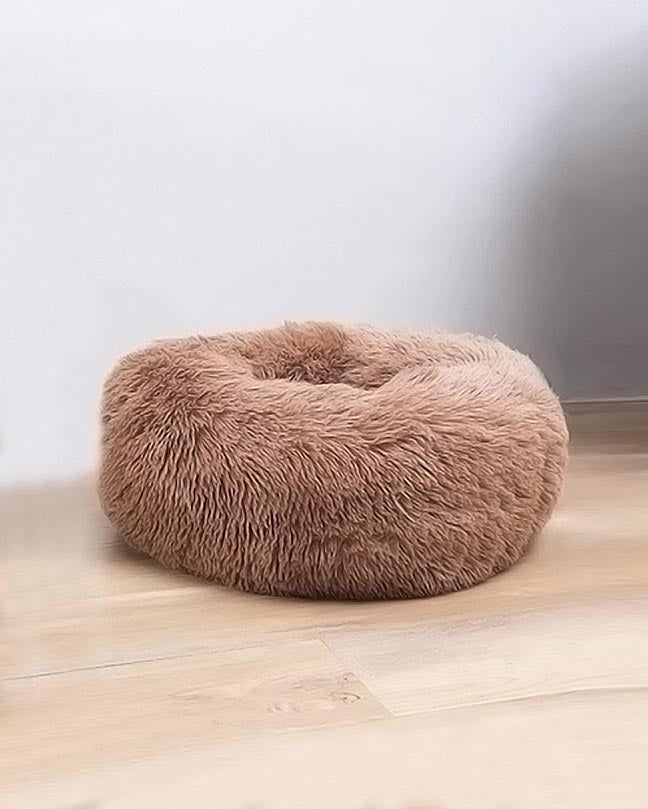 Black Plush Round Pet Cushion