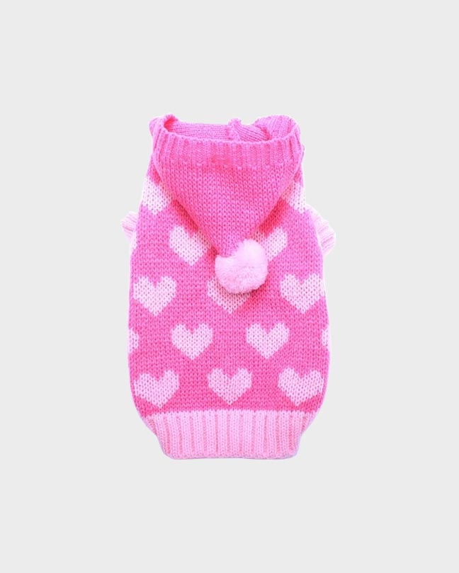 Pink Heart Hooded Pet Sweater