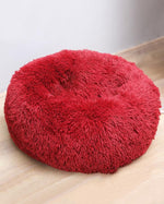 Dark Coffee Plush Round Pet Cushion