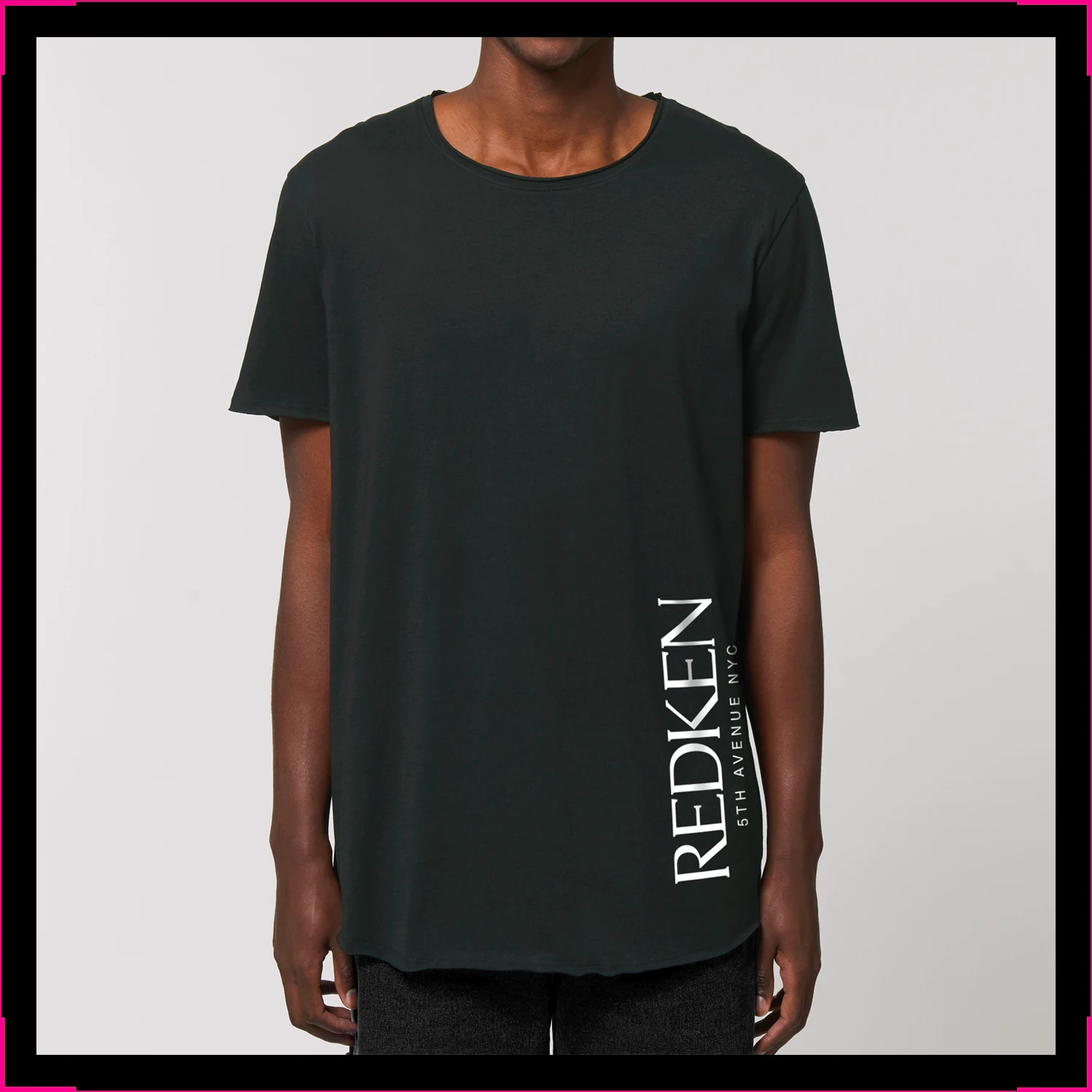 Raw-Edge Unisex Long T-shirt Redken Logo on Side
